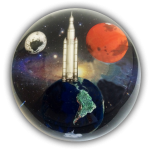 Andromedome Paperweight, Earth, Mars, Moon To Scale plus Orion Rocket, Educational Info Lasered On Back, 4 Inch Diameter