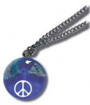 Pendant, Peace Sign On Earth Marble, with Natural Continents, Endless Stainless Steel Chain, Recycled Glass, 1 Inch Diameter