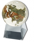 Amazing Crystal Globe - Clear Crystal Sphere With Natural Earth Continents With Tapered Glass Spinning Base, 3 Inch Diameter