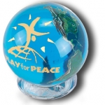 "Aqua Crystal Earth Sphere With ""Play For Peace"" Logo In 22k Gold, Natural Earth Continents, Glass Stand, 2 Inch Diameter"