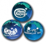 "Earth Marbles - ""Mandalay Bay, Mount Rushmore With Dot & Arrow, Mesa Recycles"" Logos In White, Green Continents, Recycled Glass"