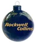 Earth Ornament With Rockwell Collins Logo, Glass With Natural Earth Continents, More Than 50 Rivers Visible, 2.5 Inch Diameter