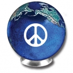 International Peace Sign On A Blue Earth Marble With Natural Earth Continents, 1.4 Inch Diameter