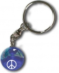 Keytag, Peace Sign On A Blue Earth Marble, Natural Earth Continents, Silver-Plated Findings, Recycled Glass, 1 Inch Diameter