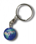 Keytag Blue Earth Marble, Full Color Natural Earth Continents, Silver-Plated Findings, Recycled Glass, 1 Inch Diameter