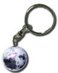 Keytag Moon Marble, Craters & Mares, Silver Plated Findings, 1 Inch Diameter