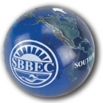 "Large Earth Marble - ""South Bay Business Environmental Coalition"" Logo In White, Natural Continents, Recycled Glass"