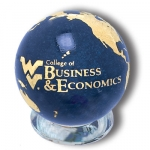 "Large Earth Marble - ""WV College Of Business & Economics"" Logo & Continents In 22k Gold, Recycled Glass"