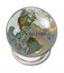 Peace Orbacle - Clear Crystal Sphere With Natural Earth Continents With Peace in 20 Languages Inside, 1 Inch Diameter