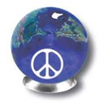 Peace Sign On A Blue Earth Marble With Natural Earth Continents, 5 In A Pouch, Recycled Glass, Half Inch Diameter