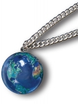 Pendant, Blue Earth Marble, with Natural Earth Continents, Endless Stainless Steel Chain, Recycled Glass, 1 Inch Diameter