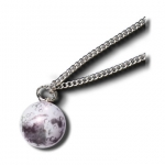 Pendant, Moon Marble, Craters & Mares, Endless Stainless Steel Chain, Half Inch Diameter