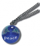 Pendant, Peace On Earth Marble, with Natural Continents, Endless Stainless Steel Chain, Recycled Glass, 1 Inch Diameter