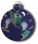 """Peace"" In 12 Languages Earth Ornament, Glass With Natural Earth Continents, 50 Rivers, 2.5 Inch Diameter"