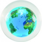 Desktop Paperweight Sphere, Crystal Earth, Natural Continents, Flat Base, Lucite, 4 Inch Diameter