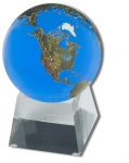 Amazing Crystal Globe - Aqua Crystal Sphere With Natural Earth Continents With Tapered Glass Spinning Base, 3 Inch Diameter