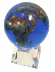 Amazing Crystal Globe - Aqua Crystal Sphere With Natural Earth Continents With Tapered Crystal Base, 6 Inch Diameter