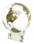 Amazing Crystal Globe - Clear Crystal Sphere With Natural Earth Continents With Tapered Crystal Base, 6 Inch Diameter