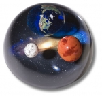 Andromedome Paperweight, Earth, Mars & Moon To Scale, Educational Info Lasered On Back, 4 Inch Diameter