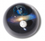 Andromedome Paperweight, Earth, Moon & Andromeda, Educational Info Lasered On Back, 3 Inch Diameter