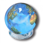 Aqua Crystal Earth Sphere With Natural Earth Continents, 2 Inch Diameter