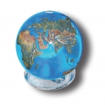 Aqua Crystal Earth Sphere With Natural Earth Continents, 1.4 Inch Diameter