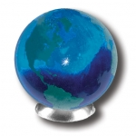Blue Earth Marble With Green Continents, Recycled Glass, 1.4 Inch Diameter