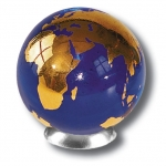 Blue Earth Marble With 22k Gold Continents, Recycled Glass. 1.4 Inch Diameter