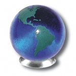Blue Earth Marble With Green Continents, 5 In A Pouch, Recycled Glass, 1 Inch Diameter