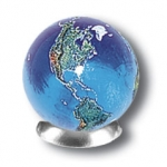 Blue Earth Marble With Natural Earth Continents, 5 In A Pouch, Recycled Glass, 1 Inch Diameter