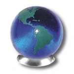 Blue Earth Marble With Green Continents, 5 In A Pouch, Recycled Glass, Half Inch Diameter