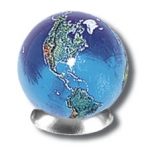 Blue Earth Marble With Natural Earth Continents, 5 In A Pouch, Recycled Glass, Half Inch Diameter
