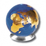 Blue Earth Marble With 22k Gold Continents, Recycled Glass, Half Inch Diameter