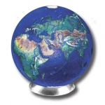 Blue Earth Marble With Natural Earth Continents, Recycled Glass, 1.4 Inch Diameter