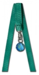 Bookmark Blue Earth Marble, Silver-Plated Findings, 10 Inch Long Ribbons, Recycled Glass, Half Inch Diameter
