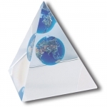 Desktop Paperweight Pyramid, Recycled Glass Natural Earth Globe, Lucite, 2.5 Inches Tall