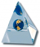 Desktop Paperweight Beveled Pyramid, Recycled Glass Natural Earth Globe, Lucite, 3 Inches Tall