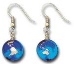 Earrings, Blue Earth Marbles, with 22k Gold Continents, Gold Fill Findings, Recycled Glass, Half Inch Diameter