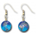 Earrings, Blue Earth Marbles, with Natural Earth Continents, Gold Fill Findings, Recycled Glass, Half Inch Diameter