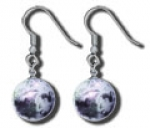 Earrings, Moon Marbles, Craters & Mares, Silver Fill Findings, Half Inch Diameter