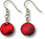 Earrings, Red Mars Marbles, 3 Color Mountains & Ice Caps, Gold Fill Findings, Half Inch Diameter