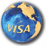 "Earth Marble - ""VISA"" Logo & Continents In 22k Gold, Recycled Glass"