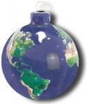 Earth Ornament, Glass With Natural Earth Continents, More Than 50 Rivers Visible, 2.5 Inch Diameter