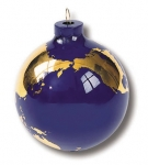 Earth Ornament, Glass With 22k Gold Continents, Gift Box, 2.5 Inch Diameter