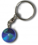 Keytag Blue Earth Marble, with Green Continents, Silver-Plated Findings, Recycled Glass, 1 Inch Diameter