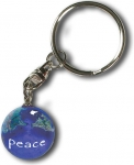 Keytag, Peace On A Blue Earth Marble, Natural Earth Continents, Silver-Plated Findings, Recycled Glass, 1 Inch Diameter