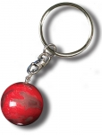 Keytag Red Mars Marble, 3 Color Mountains & Ice Caps, Silver-Plated Findings, 1 Inch Diameter