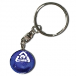 """Keytag - """"Recycle"""" Logo In White, Natural Continents, Recycled Glass"""