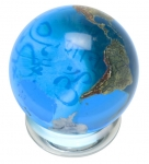 Peace Orbacle - Aqua Crystal Sphere With Natural Earth Continents With Peace in 37 Languages Inside, 2 Inch Diameter
