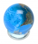 Peace Orbacle - Aqua Crystal Sphere With Natural Earth Continents With Peace in 37 Languages Inside, 1.4 Inch Diameter